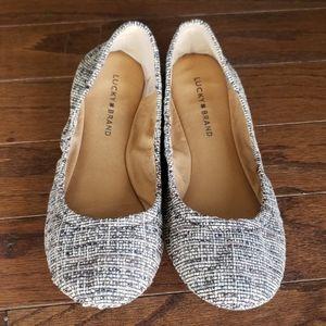 Lucky Brand Black & Grey Tweed ballet flats euc